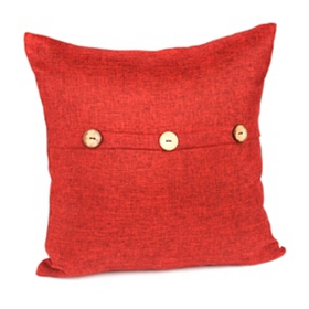 Red Buttoned Linen Pillow