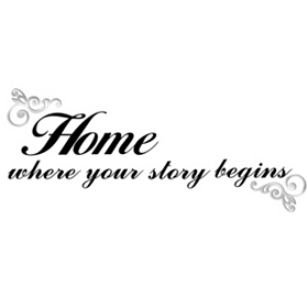 Home Black Script Wall Decal