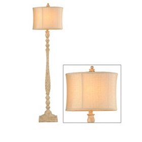 Antiqued Cream Floor Lamp