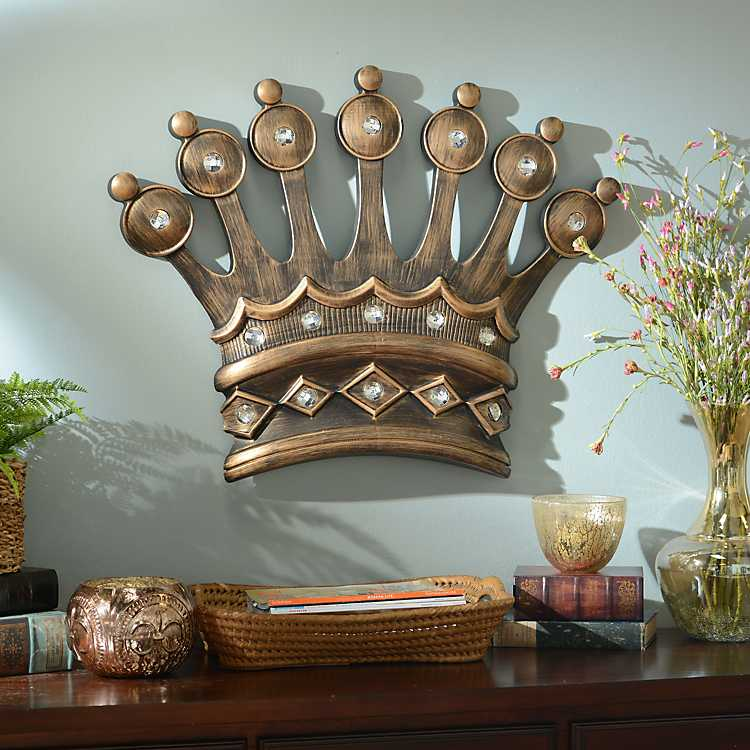 His crown gold jeweled wall plaque kirklands for Home decor wall decor furniture unique gifts kirklands