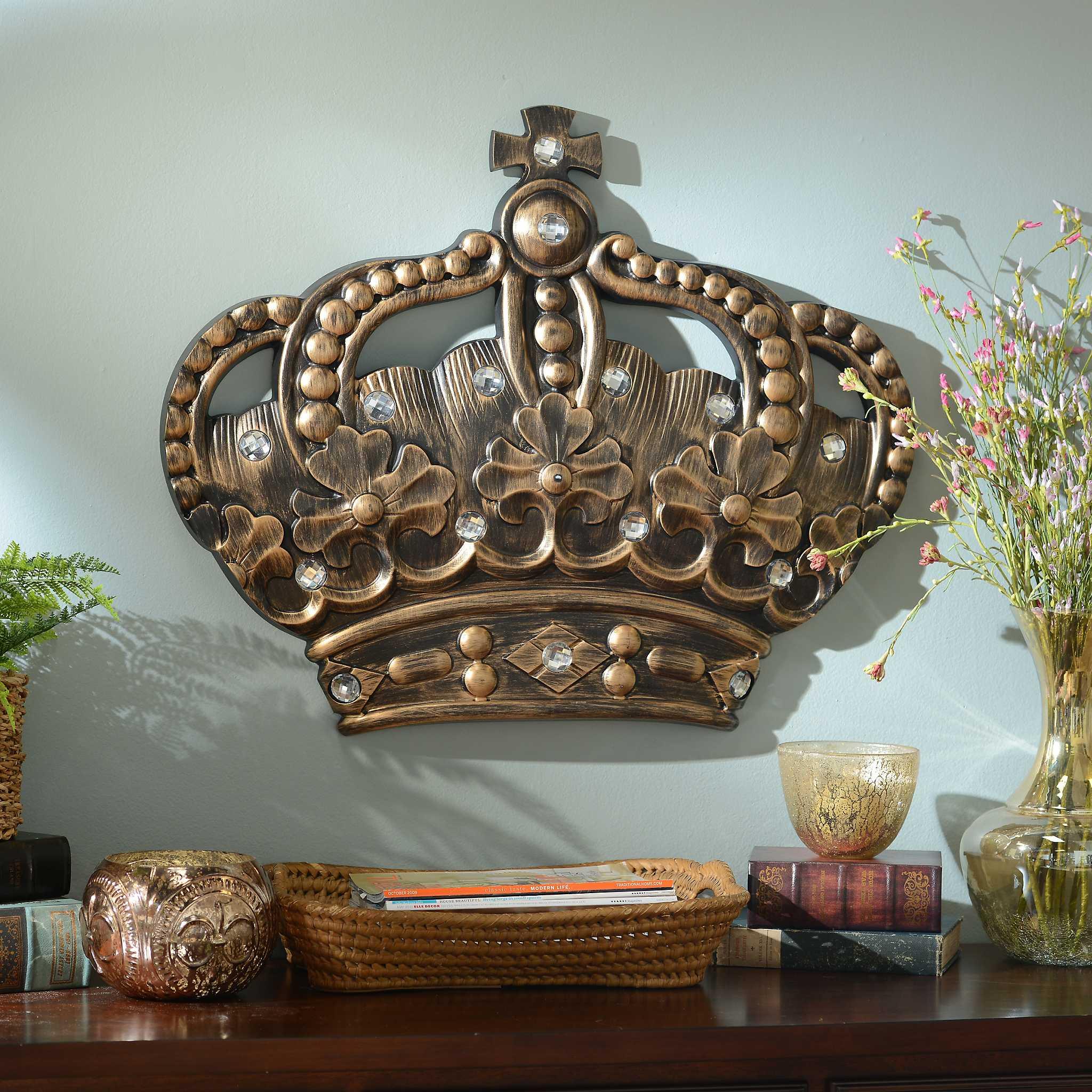 her crown gold jeweled wall plaque kirklands. Black Bedroom Furniture Sets. Home Design Ideas