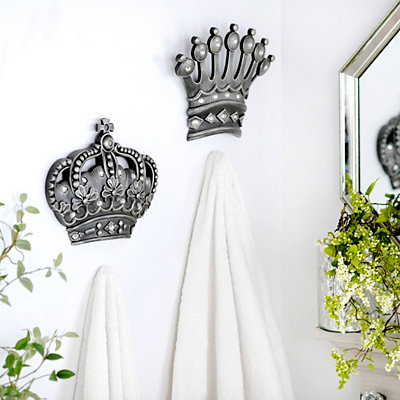 His/Her Crown Silver Jeweled Wall Plaque, Set of 2