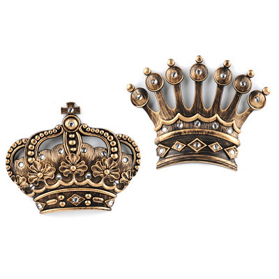 His/Her Crown Gold Jeweled Wall Plaque, Set of 2