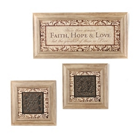 Faith, Hope, & Love Taupe Shadowbox, Set of 3