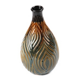 Peacock Plume Ceramic Vase