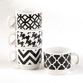 Black & White Stackable Mug Set