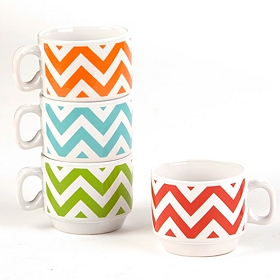 Colorful Chevron Stackable Mug Set