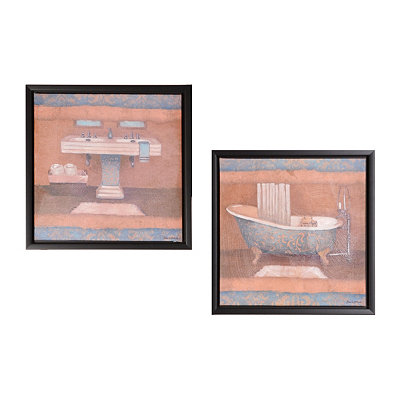 Blue Bath Framed Canvas Prints
