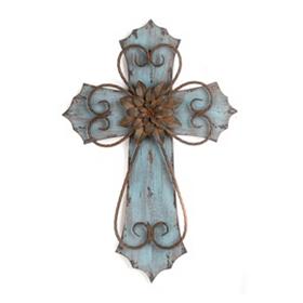 Blue Veracruz Cross Plaque