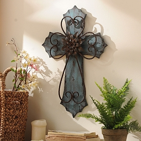 Blue Veracruz Cross Plaque