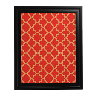Red Geometric Print Cork Board