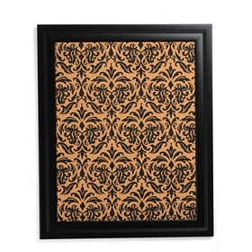 Black Damask Print Cork Board