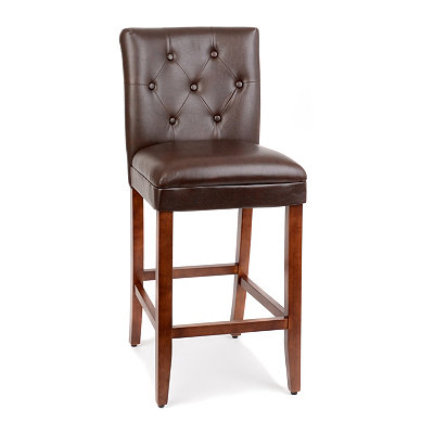 Brown Faux Leather Tufted Bar Stool