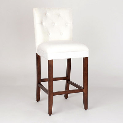 Ivory Linen Tufted Bar Stool
