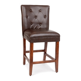 Brown Faux Leather Counter Stool