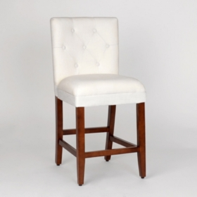 Ivory Linen Tufted Counter Stool