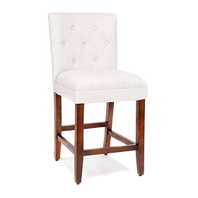 Gray Linen Tufted Counter Stool