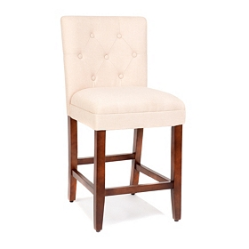 Tan Linen Tufted Counter Stool