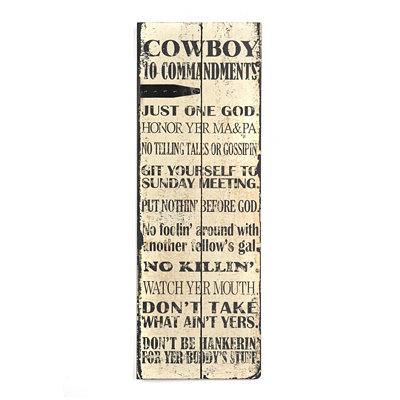 Cowboy Ten Commandments Wall Plaque