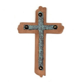 Rustic Wood & Metal Cross Wall Plaque