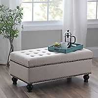 Jessica Ivory Tufted Storage Bench
