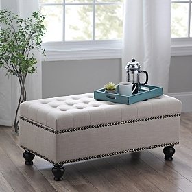 Adler Ivory Tufted Storage Bench