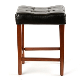 Black Leather Saddle Bar Stool, 24 in.