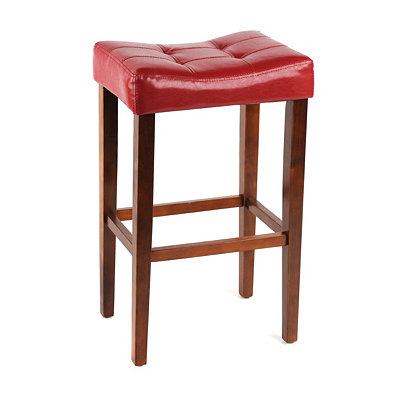 Red Leather Saddle Bar Stool, 24 in.