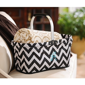 Black & White Chevron Monogram Market Tote