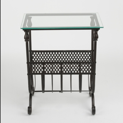 Black Lattice Glass Top Side Table