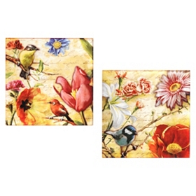 Birds & Blooms Etched Wall Plaques
