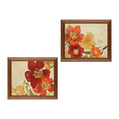 Red Floral Framed Art Prints