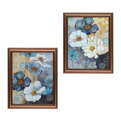 Blue Floral Framed Art Prints