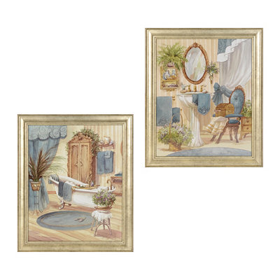 Victorian Blue Bath Framed Art Prints
