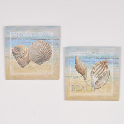 Seaside Beveled Canvas Art Print, Set of 2
