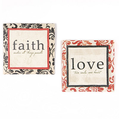 Faith & Love Beveled Canvas Art Print, Set of 2