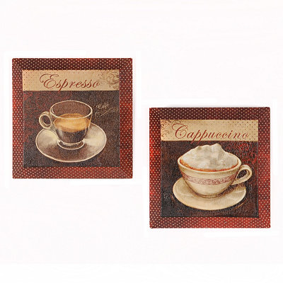 Cafe Break Beveled Canvas Art Print, Set of 2
