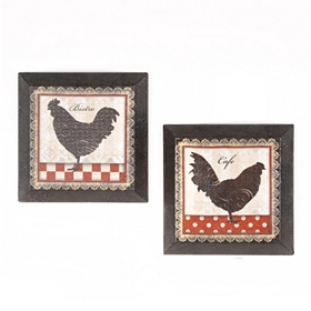 Rooster Kitchen Beveled Canvas Art Print, Set of 2