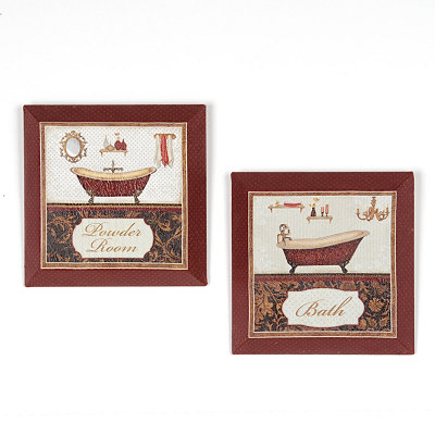 Red Bath Beveled Canvas Art Print, Set of 2