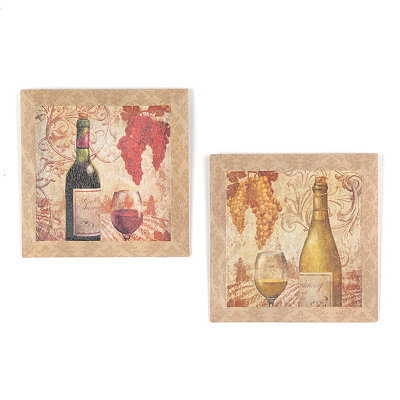 Vineyard Beveled Canvas Art Print, Set of 2