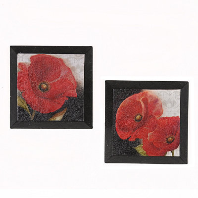 Red Poppy Beveled Canvas Art Print, Set of 2
