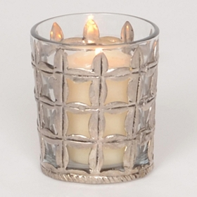 Silver Mercury Grid Votive Holder
