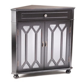 Black Cathedral Door Corner Cabinet