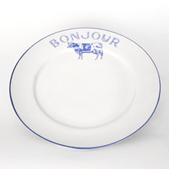 Bonjour Blue Cow Dinner Plate