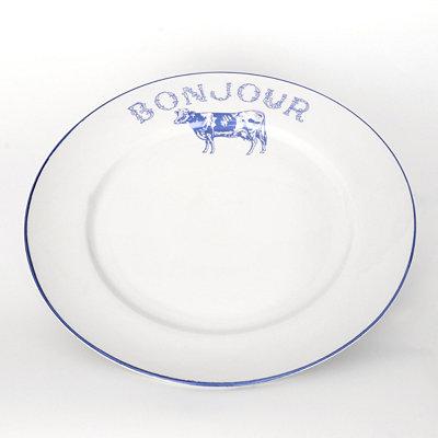 Bonjour Blue Cow Dinner Plate