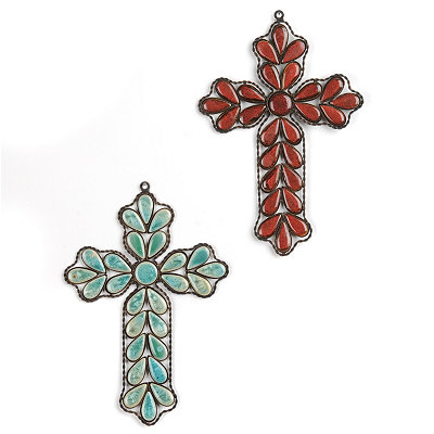 Colorful Stones Metal Cross Wall Plaque