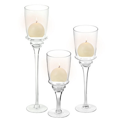 Clear Glass Stem Charisma, Set of 3