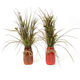 Ceramic Jar Grass Floral Arrangement