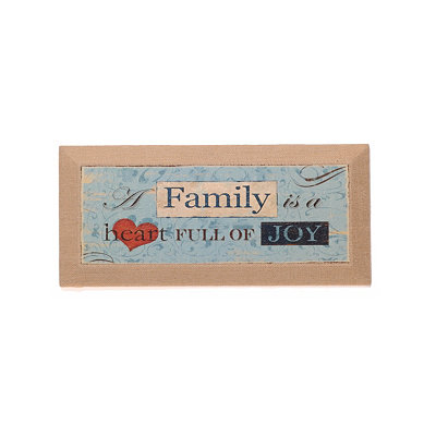 Family Heart Burlap Canvas Art Print