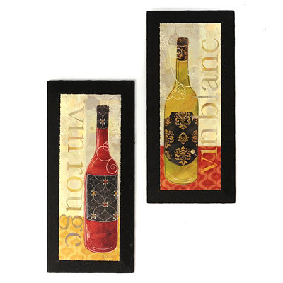 Vin Rouge & Vin Blanc Burlap Canvas Art Print